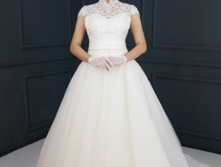 WG004 – High Collar A-line Wedding Dress