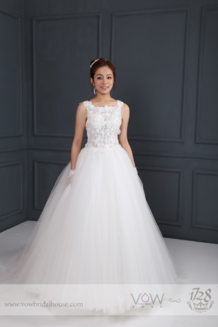 WG006 – Flowe Tulle Bateau Neckline A-line Wedding Dress
