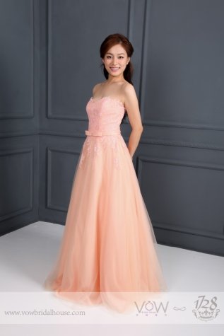 WG015 – Peach Tulle Neckline A-line Evening Gown