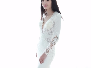 Sexy Deep V-neckline Lace Long Sleeve Mermaid wedding dress