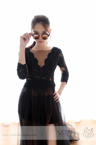 Sexy See-through Lace Sleeve Evening Gown