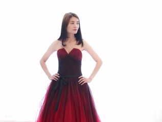 Chiffon Two Tone V-Neckline Evening Gown
