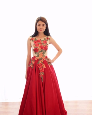3D Floral Satin Ball Evening Gown