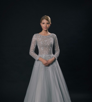 Shinny Long Sleeve Evening Dress