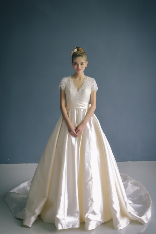 Romantic Satin A-line Wedding Dress with Beaded Lace Appliques