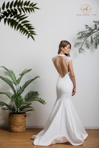 Simple White Cotton with Lace WeddingDress