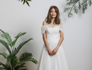Off Shoulder A-line Lace WeddingDress