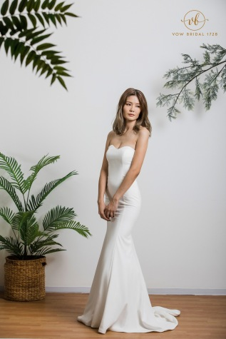 Simple White Cotton Wedding Dress